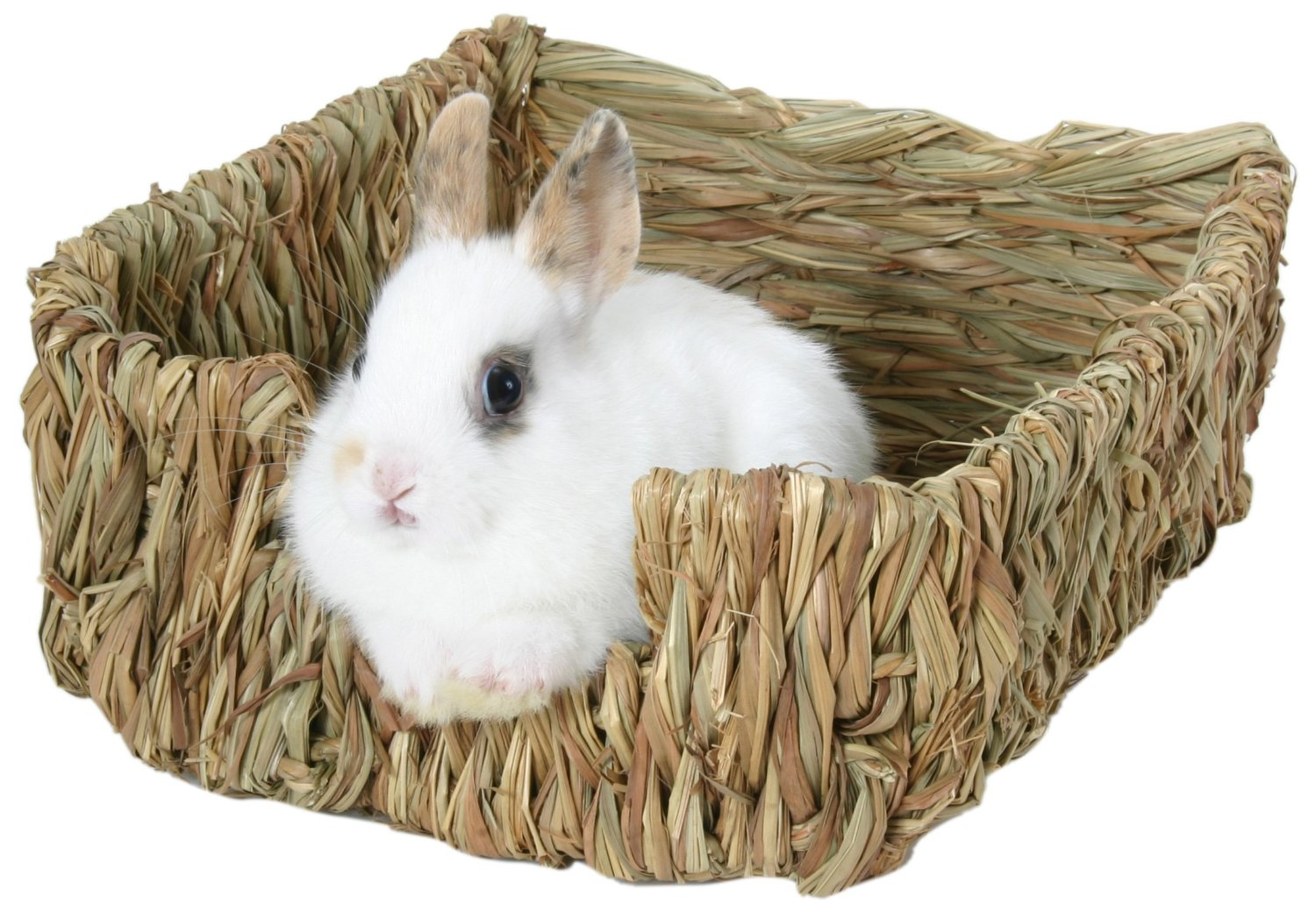 Woven grass bed for dwarf rabbits